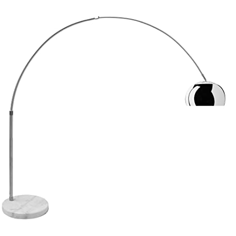 Lampada Ad Arco con Base Rotonda in Marmo Bianco, Lampada da Terra Design  Moderno, Struttura in Alluminio Cromato, Altezza 200 cm, Marmo Bianco