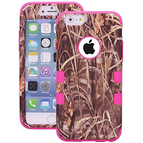 Tech Express (Tm) Flexible TPU Grass Tree Camo Camouflage 2 Piece Snap On Real Design Cover Case for Apple iPhone 6+ / 6 Plus 5.5