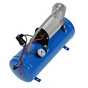 12 V 6 litros Compresor de Aire Bomba Tanque Kit para Vehículo Coche Camión Train RV Air Horn 150 PSI con Interruptor de Presión Automática Integrado: ...