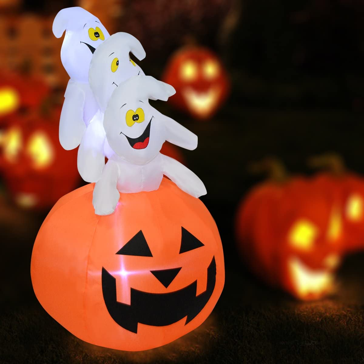 Lawn and Garden COSTWAY 1.5M Inflatable Halloween Pumpkin Ghost Decoration Light Up Festival Decorations Outdoor Indoor for Home
