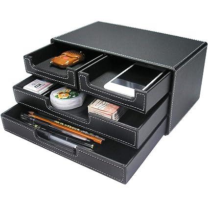 KINGFOM madera/piel sintética multi-función escritorio papelería ...
