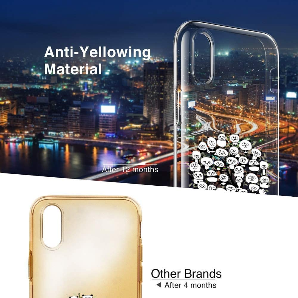 Riyeri H/ülle Compatible with Apple iPhone Xr H/ülle iPhone Xs Handyh/ülle Klar TPU Silikon Netter Panda Muster Sto/ßd/ämpfend Bumper SchutzH/ülle f/ür Apple iPhone Xs Max Phone