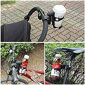 Bailuoni Bottle Holder Bicycle Water Bottle Cage Rack 360 Degree Rotating Baby Bottle Holder for Stroller 、Bicycle (C, Black)