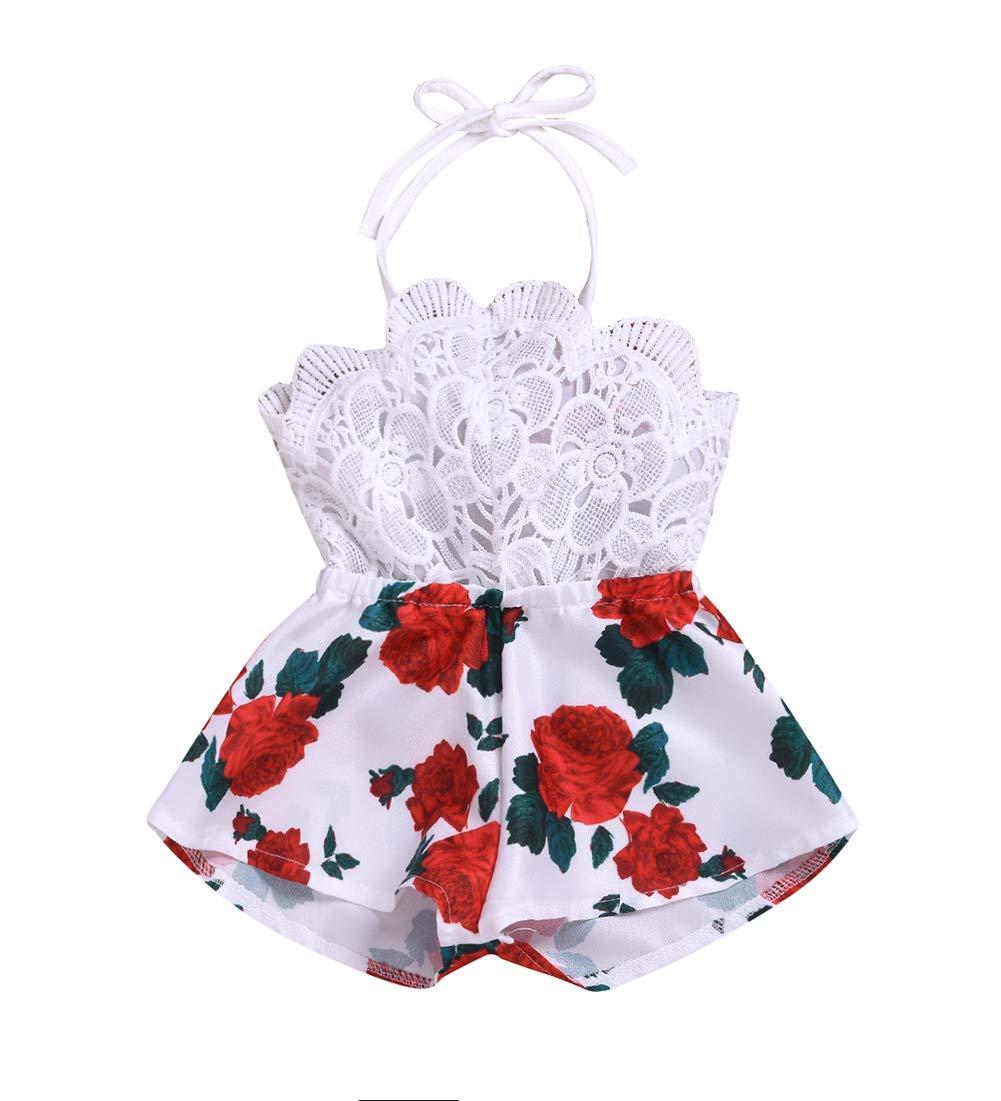 Infant Baby Girls Halter Lace Romper Backless Jumpsuit Bodysuit Summer Sunsuit Overall 0-24M