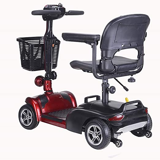SISHUINIANHUA Silla de Ruedas eléctrica Plegable, Scooter Vehículo ...