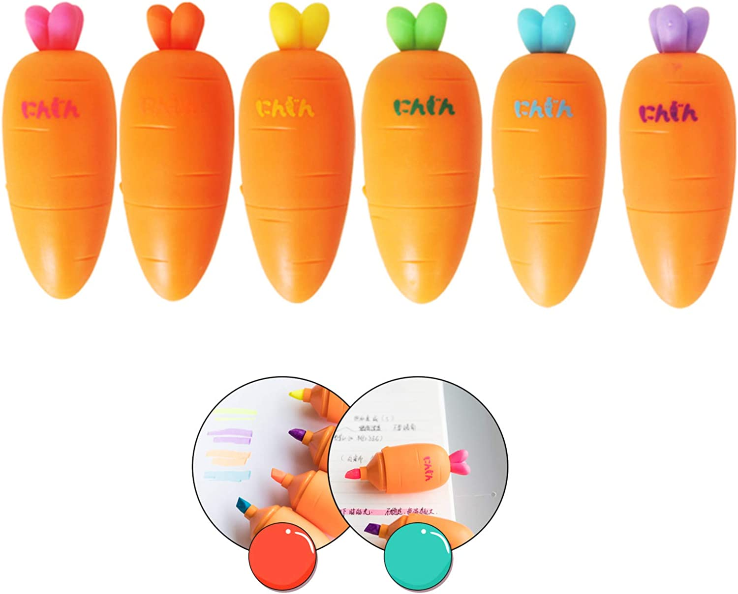 eKoi Cute Kawaii Creative Korean Novelty Non Bleed Mini Carrot Highlighter Pen Marker for School Student Office Kids Play Study Stationery Supplies (6 Assorted Color Pack) …