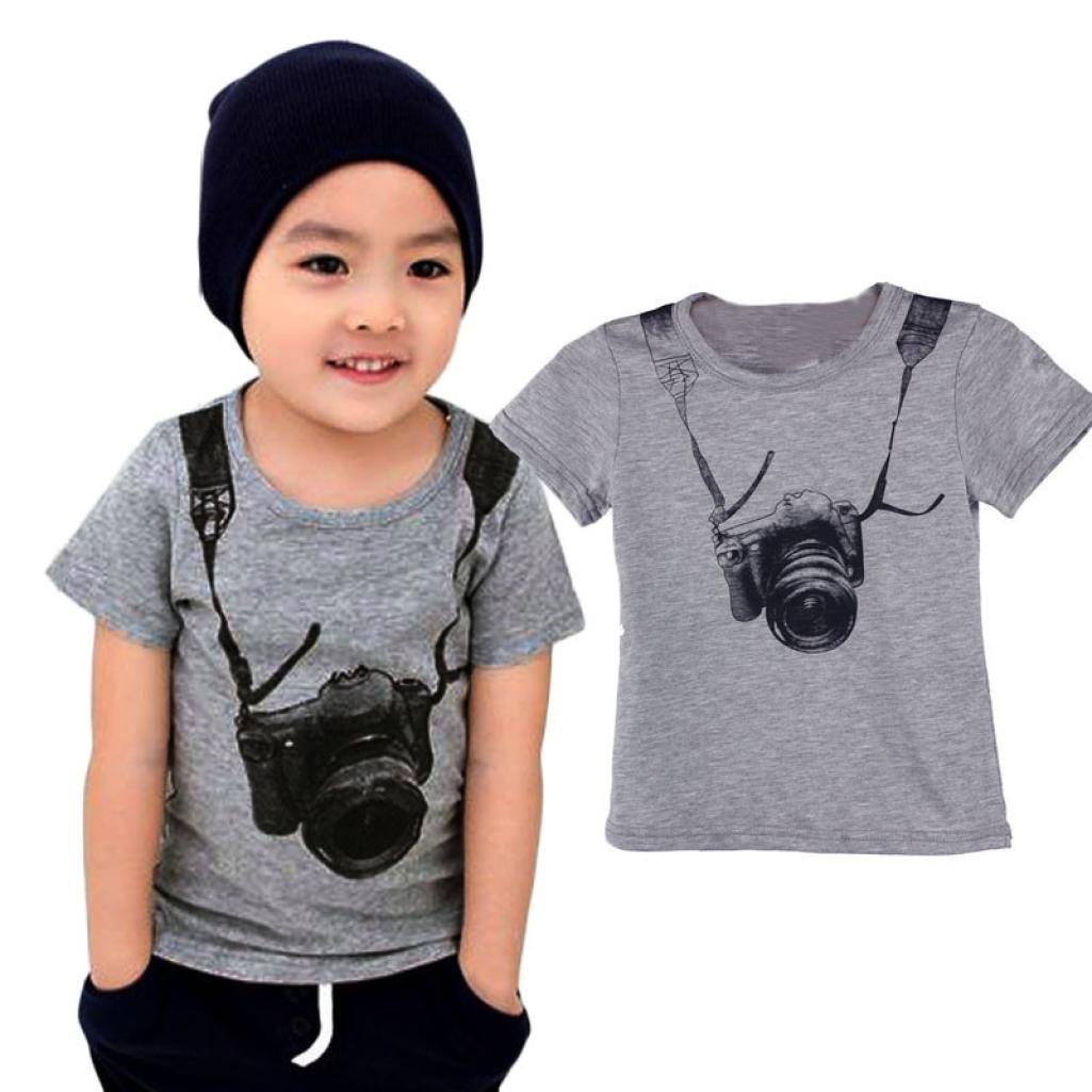 HEHEM for 1-6Y Boys Clothing, Summer Children Boy Kids Camera Short Sleeve Tops O Neck T Shirt Tees