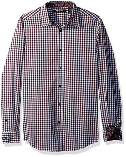 AXIST Men's Long Sleeve Check Woven Shirt, Winetasting, (Button Down Stretch Woven Shirt)