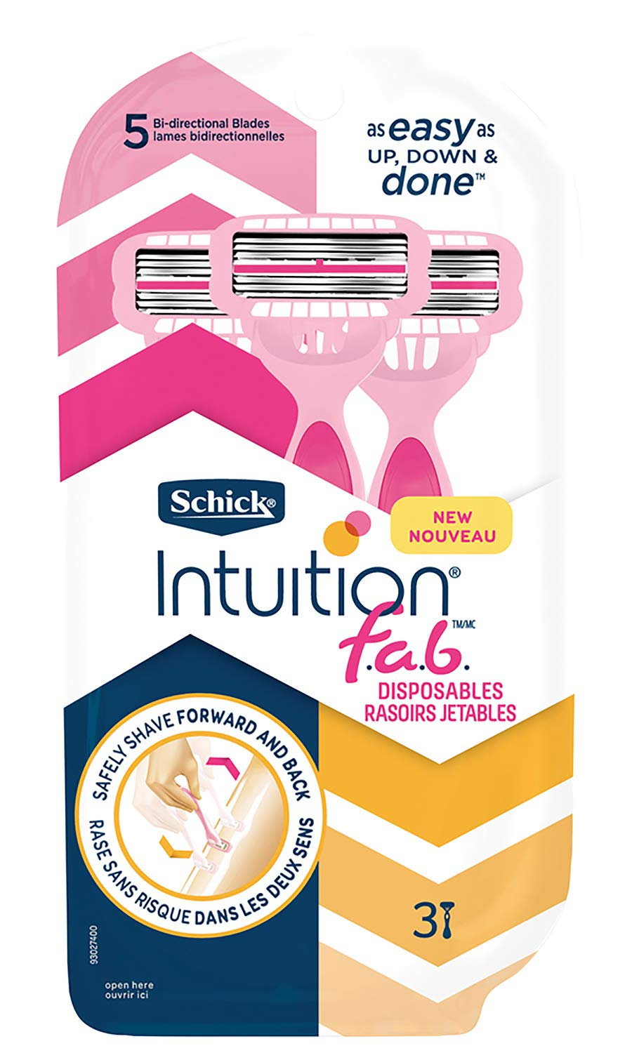 Schick Intuition f.a.b. Disposables Razors for Women, 3 Count - Pack Of 3