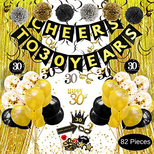 30th Birthday Decorations for him or her - Cheers to 30 Years Banner, Gold Black Silver Pom Poms, Hanging Swirls, Cake Topper, Photo Props, Backdrop, Balloons, Confetti, 30th Anniversary Decorations
