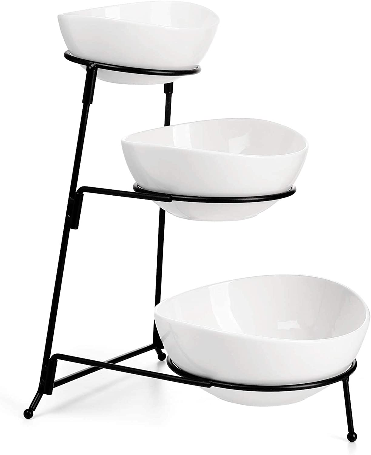 Sweese 736.101 3 Tier Oval Bowl Set with Sturdier Metal Rack, Tiered Serving Stand, Chip and Dip Serving Set -Serving Bowls for Parties