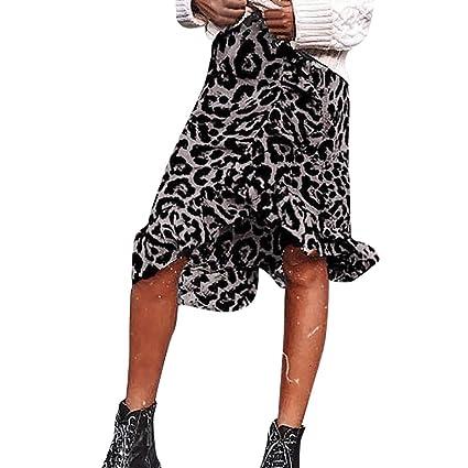 Wave166┃Faldas Mujer Verano Fiesta Sexy Leopardo Falda Cintura ...