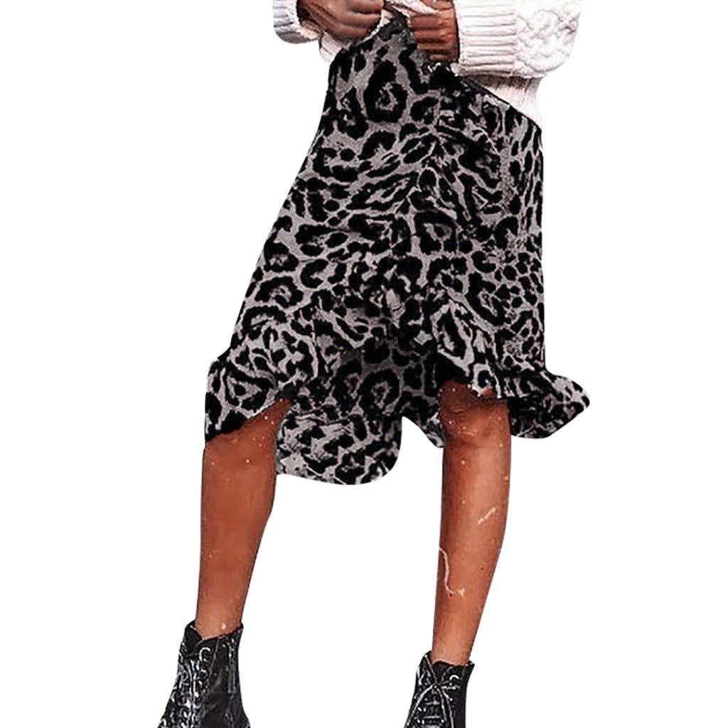 beautyjourney Falda con Estampado de Leopardo Falda Larga Vintage ...