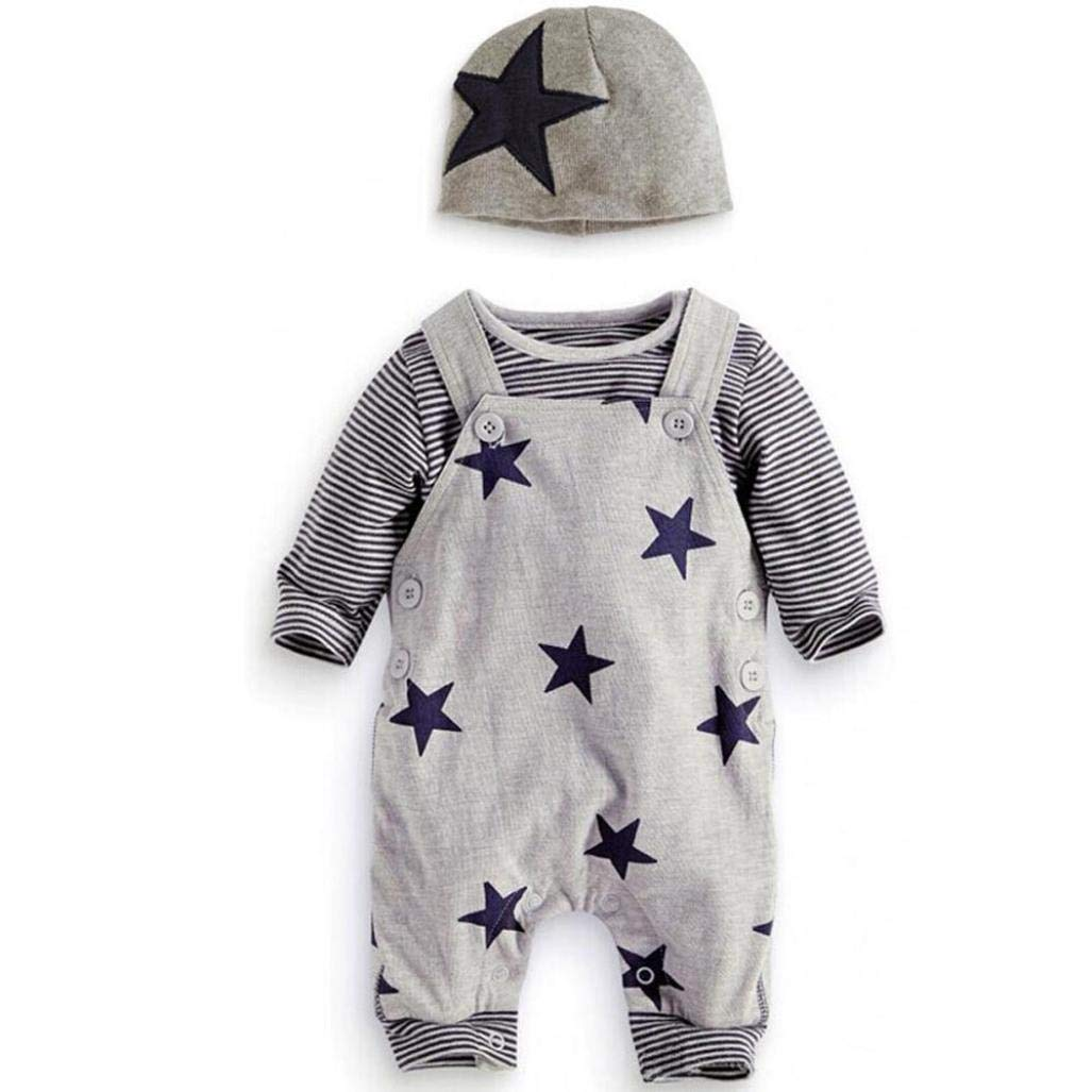 Newborn Baby 3Pcs Sets, Casual Stripe T-shirt Top Star Baggy Adjustable Bib Pants Overall Jumpsuit Hat (Gray, 0-6 Months)