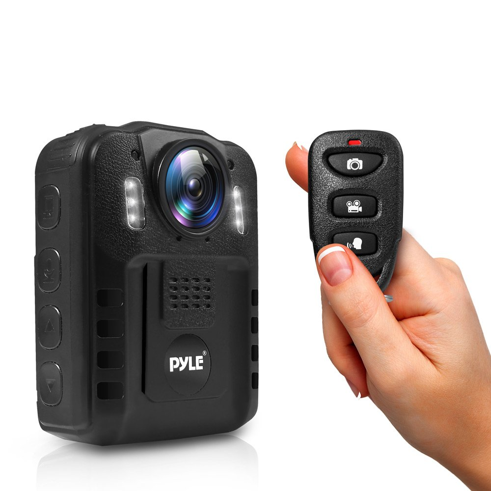 Pyle Premium Portable Body Camera - Wireless Wearable Camera, Person Worn Camera, Compact & Portable HD Body Camera, IR Night Vision, Built-in Rechargeable Battery, LCD Display, 16GB Memory - PPBCM9