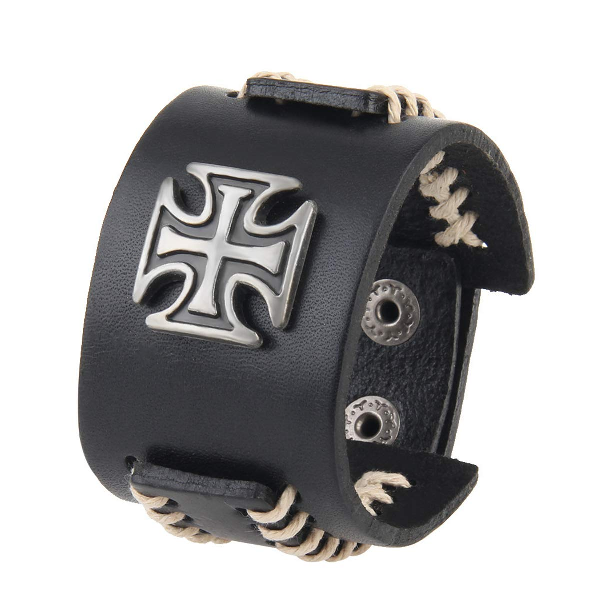 Helloriver Cross Handmade Leather Ladies Vintage Leather Bracelet