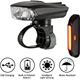 SOOJET BFR-01 USB Rechargeable LED Bike Light Set - IPX4 Waterproof - Sensor and Automatic Switch Design - 400 Lumens - 5 Light Modes - With Headight and Taillight