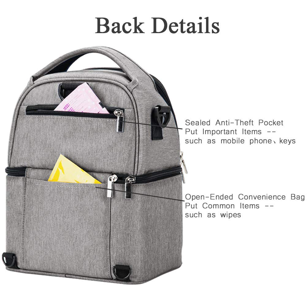 Waterproof Double Layer Breast Milk Cooler Bag Travel Baby Bottle Cooler Bag Baby Bottle Cooler Bag Portable Thermal Insulated Lunch Box Baby Milk Bag Freezer for Work Mommy Women Family Use