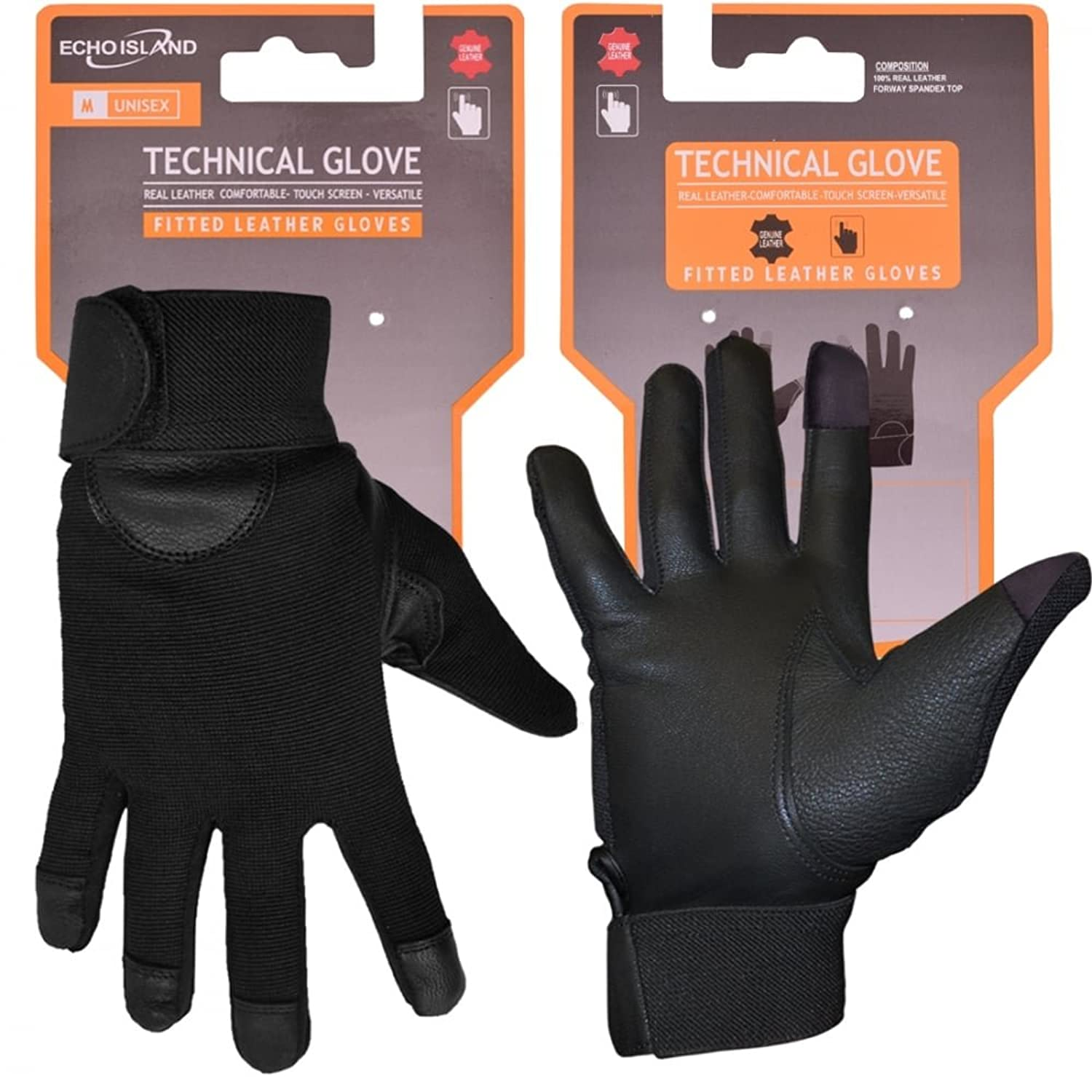 Mens leather gloves amazon uk - Mens And Womens Fitted Real Leather Gloves With Spandex Velcro Fastened Driving