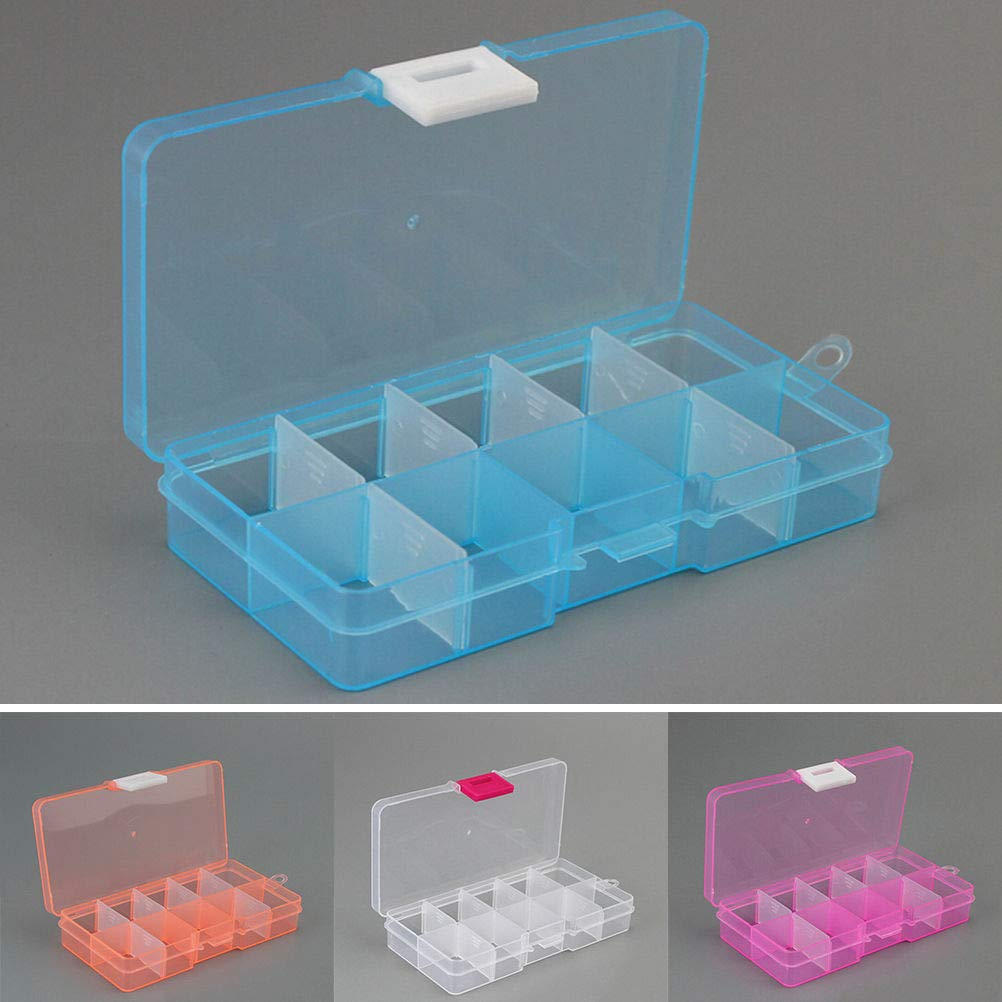 FidgetFidget Plastic10 Slots Adjustable Jewelry Storage Box Case Craft Organizer Beads 8A3 Pink