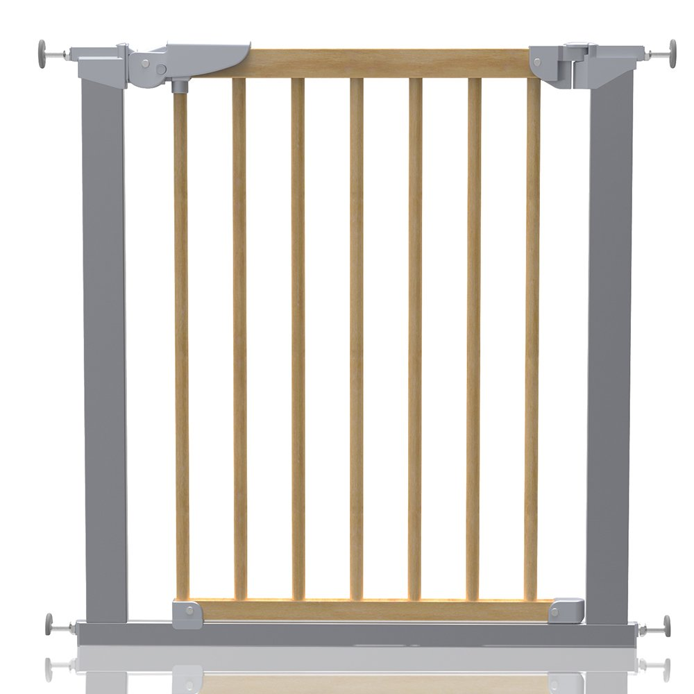 Safetots Beechwood and Metal Pressure Fit Safety Stair Gate 77.5cm - 84.4cm