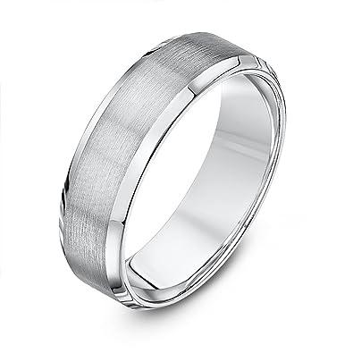 Theia Court Shaped, Super Heavy Weight, Matt Sides Polished Center Palladium 950 Wedding Ring, 6 mm