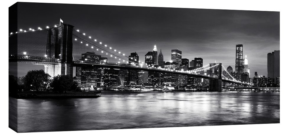 Extra large brooklyn bridge new york city scene black white canvas art 44 x 20 inches 113 cm x 52 cm mounted and ready to hang by canvas interiors