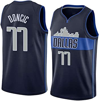XSJY Los Hombres De Baloncesto Jersey NBA Dallas Mavericks # 77 Luka Doncic Mangas Transpirable Retro Deportes Camisetas,A,L:175~180cm//75~85kg