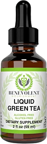 Green Tea Fat Burner – with EGCG Green Tea Extract Liquid, Max Potency for Weight Loss Support Energy, 10 Cups of Green Tea Natural Antioxidants Polyphenols Caffeine Non-GMO Alcohol Gluten Free