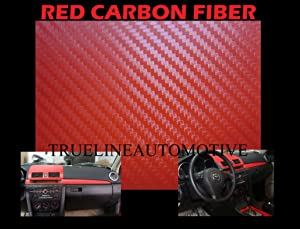 2003-2009 HUMMER H2 RED Carbon Fiber Hood Dash Mirror Roof Wrap Sheet Vinyl Decal 60'' x 180'' 2004 2005 2006 2007 2008 2009 03 04 05 06 07 08 09