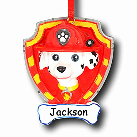 Paw Patrol Christmas Ornaments Personalized.Paw Patrol Personalized Marshall The Fire Dog Christmas Ornament With Name 2 5 Inches
