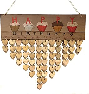 DZH Enjoy Wooden Cupcake Birthday Calendar Plaque for Family and Friends Birthday Reminder Home Decor Wall Hanging Sign Board with 50 Pieces DIY Wood Heart Tags to Write on