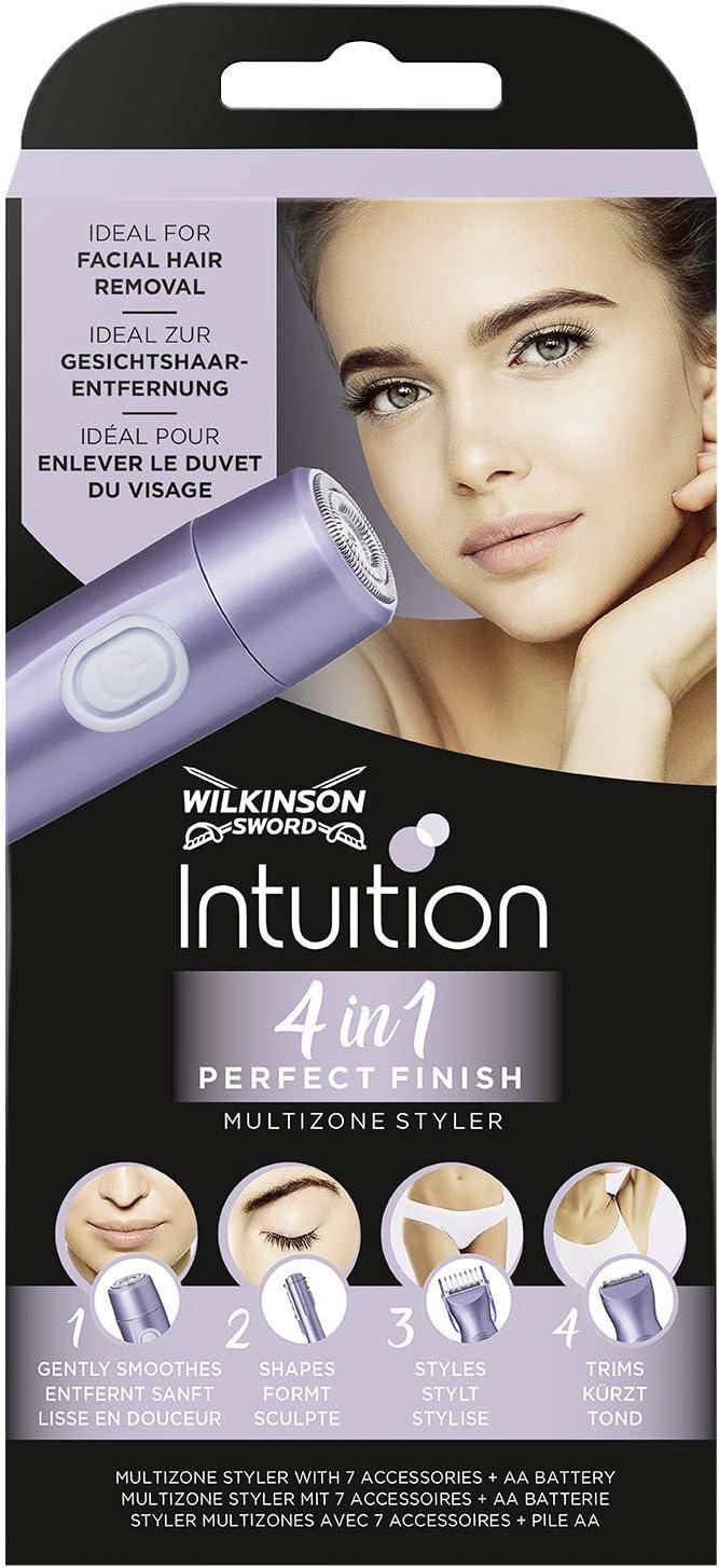 Wilkinson Sword Intuition Perfect Finish - Afeitadora Eléctrica Femenina 4 en 1 para el Cuerpo, la Zona del Bikini, el Vello Facial y las Cejas, Cuidado Corporal Mujer