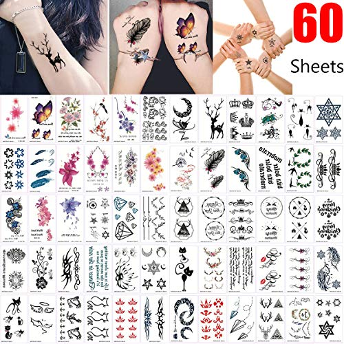 Temporary Tattoos for Women-60 Sheets Mixed Style Body Art Flash Fake Tattoo Tattoos Paper Flowers Roses Butterflies Multi-Colored Waterproof Tattoo for Adult Men from TOOBIT