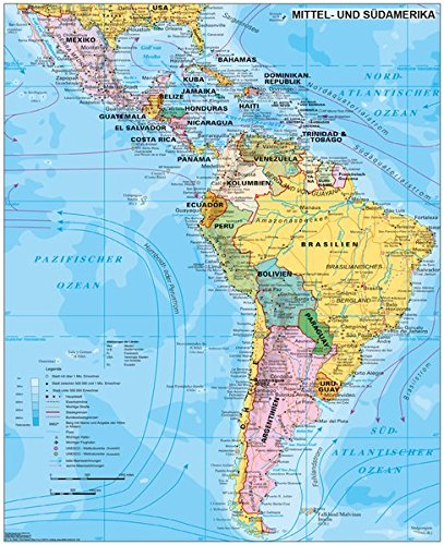 Mittel Und Sudamerika Politisch 1 70 000 000 Wandkarte Poster