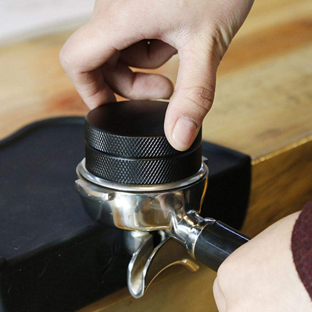 Evenly Press Anti-Skid Hand Mill Grinder for Espresso Coffee AUOKER 51mm Coffee Distributor//Leveler Tool Black Easy to Use Stainless Steel Palm Tamper Anti-Skid Edge