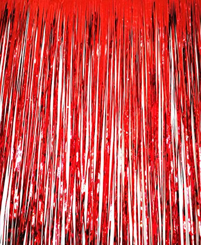 GOER 3.2 ft x 9.8 ft Metallic Foil Fringe Curtains for Party Photo Backdrop Wedding Decor (Office Door Halloween Decorations)