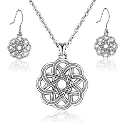 7f5ab7d8c Amazon.com: WANZIJING Women's Necklace and Earrings Set Sterling Silver  Celtic Knot Jewellery Sets Never-Ending Love for Women Girls with 18