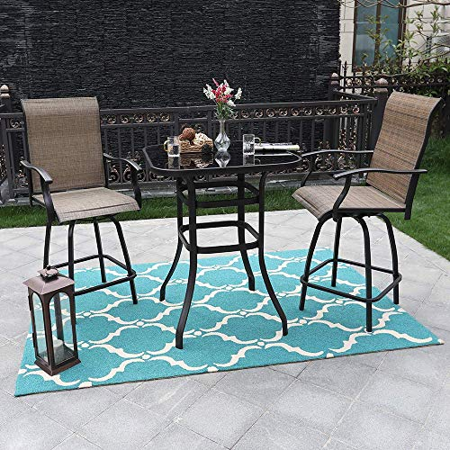 PHI VILLA 3 Piece Height Swivel Bar Stools Sets with All Weather Steel Frame Patio Bistro Sets