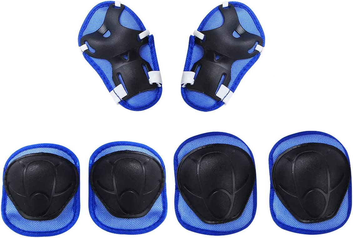 dPois 6Pcs Kids Children Sports Protective Gear Set Breathable Knee Pad Elbow Pads Wrist Guards for Riding Cycling Skateboarding Skating Roller BMX Bike Inline Scooter