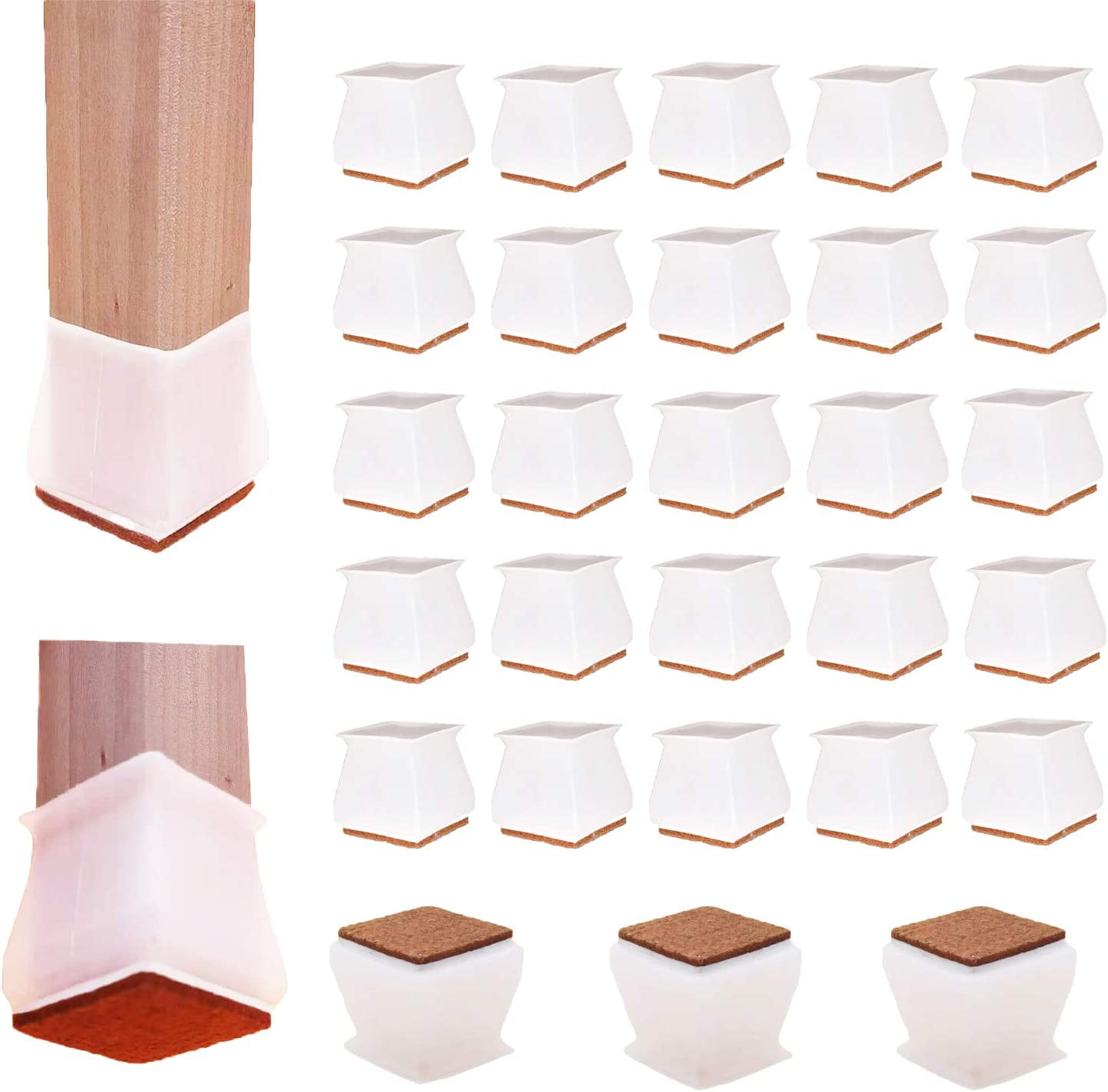 32 Pcs Chair Leg Cups Square(Fits 1.37-1.57 inch)-Anti-Slip Felt Bottom Soft Silicone Furniture Foot Protector Pads-Free Moving Table Leg Covers-Stool Leg Protectors Covers to Prevent Floor Scratches
