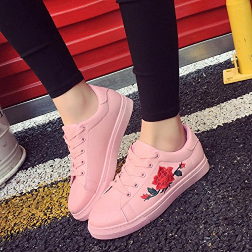 Bovake Casual Sneakers Shoes, Fashion Women's Straps Sports Running Sneakers Embroidery Flower Shoes - Embroidered Flower Little White Shoes With Sports Board Shoes Pink