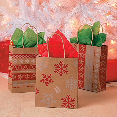 Red & White Nordic Print Craft Bags 1 Dozen - Christmas Gift Bags (1 Gifts Christmas)