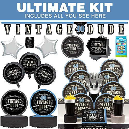 [Costume Supercenter BBKIT695 Vintage Dude 40th Birthday Party Ultimate Tableware Kit] (Vintage Blow Up Halloween Costumes)
