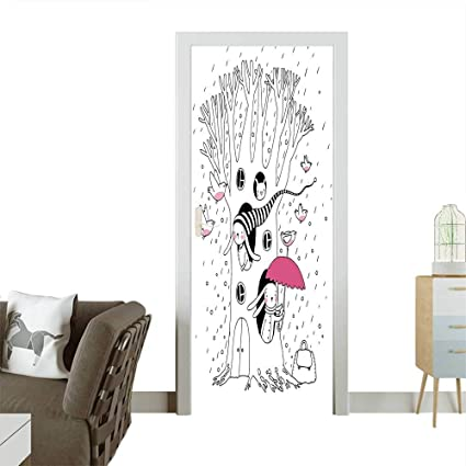 Amazon.com: Decorative Door Decal Habitat Drawing with ... on riverside home, sunny day home, garden home, easter home, gloomy day home, cloudy day home, fun home, health home, black and white home, paul reubens home, cold home, blu home, farm home,