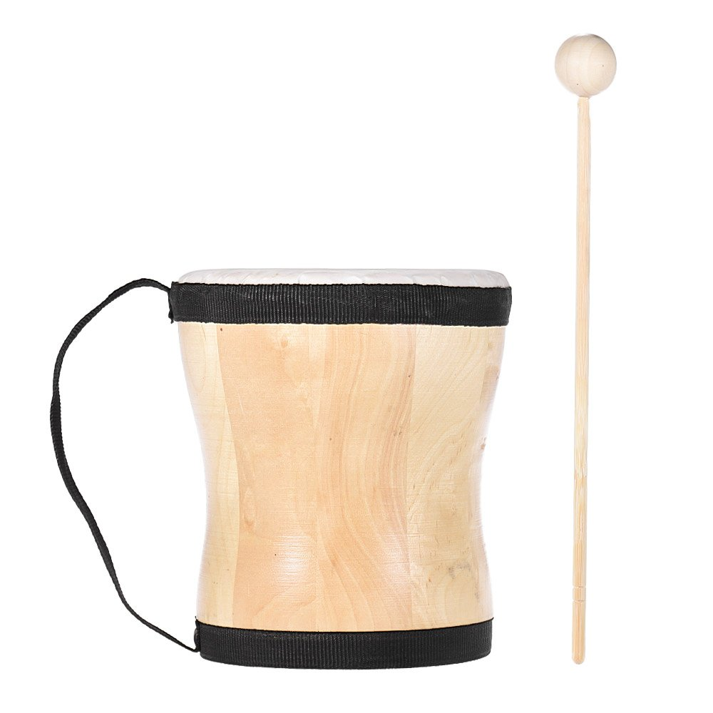 ammoon Wood Hand Bongo Drum Musical Toy Percussion Instrument with Stick Strap for Kids Children Party Club Carnival