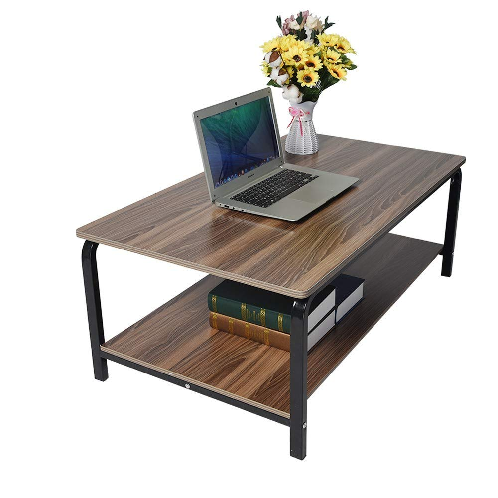 Simple Rectangular Coffee Table and Shelf, Double Layer Metal Frame Living Room Tea Cocktail Table with Storage, Modern Home Furniture, Easy to Assembly (Bronze) by Excursion Home