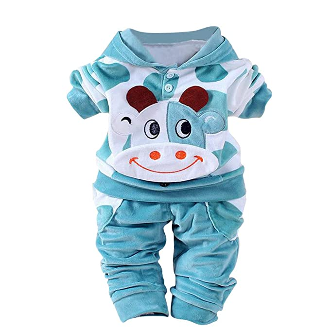 Fossen 2 Piezas/Conjunto Ropa Invierno Bebé Niños Niña Terciopelo Camiseta con Capucha de Vaca de Dibujos Animados y Pantalones: Amazon.es: Ropa y ...