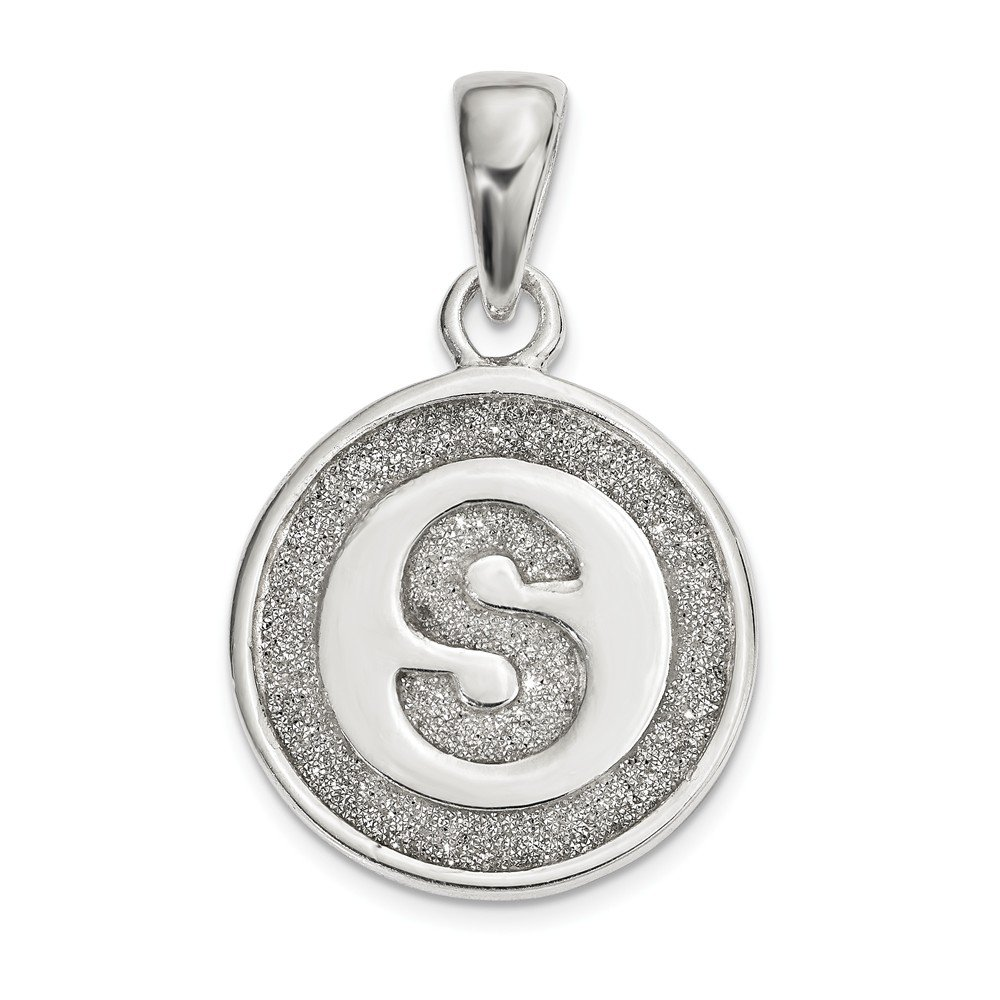 Solid 925 Sterling Silver Glitter Enamel Letter S Circle Pendant 13mm x 22mm