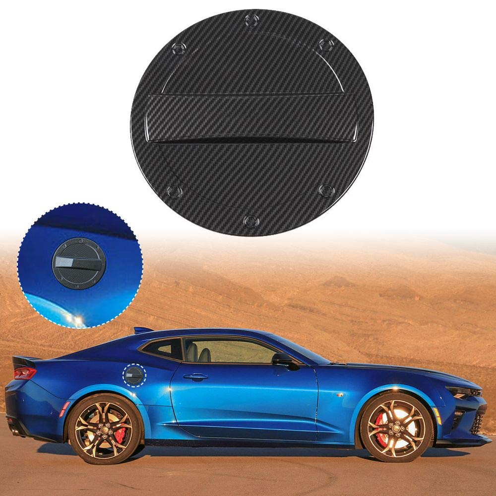 Carbon Fiber Texture JeCar Gas Cap Cover Fuel Filler Door Trim Cover for 2017-2019 Chevrolet Camaro
